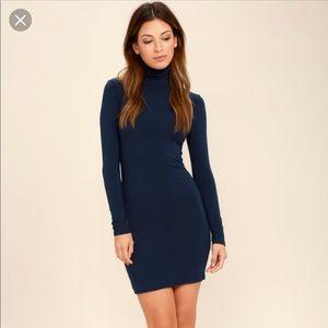 Lulu's Navy Long Sleeve Bodycon Dress